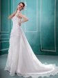 One Shoulder A-line Hand Made Flowers Court Train Church Custom Made Wedding Dress