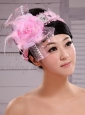 Palace Princess Korean Headdress Flower Net With Pearls and Feather