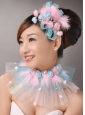 Pink Feather and Blue Net Flower Beading For Party