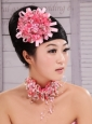 Pink Satin Ribbon and Net Flower With Pearls For Party