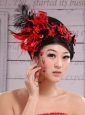 Red Best Sale Hat Flower Wedding Headpieces With Feather