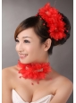 Red Chiffon Big Flowers With Beading For Wedding