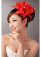 Red Chiffon Bud Silk Flowers With Beading For Party