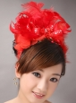 Red Chiffon Feather Big Flower With Beading For Bridal New Arrival