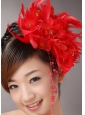 Red Custom Made Headpieces With Beaded Decorate Feather