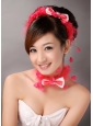 Red Feather and Bowknot Beading Hairband