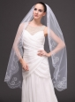 Romantic One-tier Cathedral Wedding Veils With Embroidery Edge