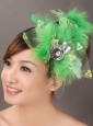 Spring Green Rhinestone Special Occasion Fascinators
