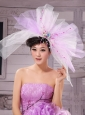 Sweet Lavender and White Corolla Large Hat Headpieces