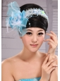 Light Blue Sweet Tulle Beading Feather Fascinator For Party