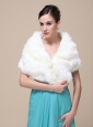 Top Selling Faux Fur Wedding Shawl With Lace V-neck
