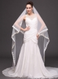 Two-tier Lace Appliques Edge Bridal Veils For Wedding