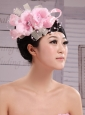 Wedding Party Pink Big Flower Pearls Chiffon and Tulle Headdress Bride