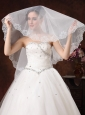 White Lace Appliques And Two-tier Organza Veil For Modest Wedding