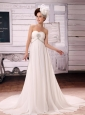 White Simple Sweetheart Chiffon A-Line Court Train Wedding Dress