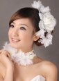 Fascinators White Organza Special Occasion and Outdoor Beading