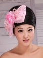 Baby Pink Lace and Rhinestones Decorate Elegant Headpieces For Party