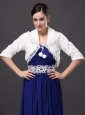Modest V-Neck Half-Sleeves Faux Fur Wedding Party And Prom White Jacket