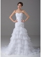 Beading Mermaid Organza Sweetheart Court 2013 Wedding Dress