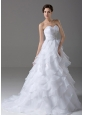Beading Organza Sweetheart Elegant Wedding Dress A-Line Brush