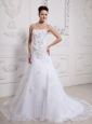 Stylish A-line 2013 Wedding Gowns With Lace Appliques Decorate Bust