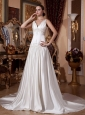 2013 Appliques With Beading and Ruch V-neck Wedding Dress With Chapel Train