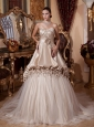 2013 Hand Made Flowers and Ruch Quinceanera Dress With Chapel Train For Custom Made