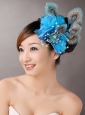 2013 Peacock Blue Feathers Headpieces Beading For Party
