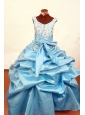 2013 Lovely Baby Blue Appliques Little Girl Pageant Dresses Scoop With Floor-Length