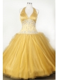 Appliques and Beading For Little Girl Pageant Dresses With Gold Halter