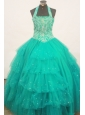 Beaded Decorate Bust Turquoise Little Girl Pageant Dress Halter Top With Ruffled Layeres