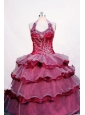 Beading and Layer Luxurious Fuchsia Ball Gown Halter Floor-length Little Girl Pageant Dresses