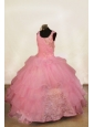 Beading Off The Shoulder Popular Ball Gown Floor-Length Organza Light Pink Beading Little Girl Pageant Dresses