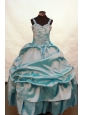 Blue Beaded and Ruch Decorate On Taffeta Flower Girl Pageant Dress With Straps Neckline Zipper-up