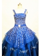 Blue Straps Neckline Flower Girl Pageant Dress With Beaded and Appliques Decorate On Organza
