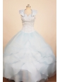 Custom Made Light Blue 2013 Little Girl Pageant Dress With Ruffled Layeres Ball Gown Scoop Neck