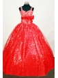 Elegant Sequin Red Flower Girl Pageant Dress With Belt and Beaded Decorate