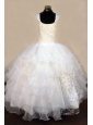 Exquisite Beading Organza Ball Gown White Square Floor-length White Little Girl Pageant Dresses
