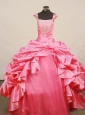 Fashionable Little Girl Pageant Dress Beaded Decorate Bust Square Neck Hot pink Taffeta