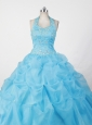Halter and Baby Blue For Appliques Little Girl Pageant Dresses