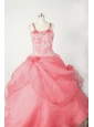 Little Girl Pageant Dresses With Beading Hand Made Flowers and Coral Red