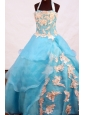 Lovely A-line Appliques Decorate Halter Floor-length Flower  Girl Dress