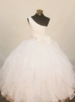 Lovely One Shoulder Little Girl Pageant Dress Floor-Length Beading White In 2013