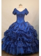 Luxurious Blue V-neck Short Sleeves Beaded Decorate Organza  Flower Girl Pageant Dress