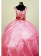 Paillette Over Skirt  Little Girl Pageant Dress Ball Gown Square Floor-Length Watermelon