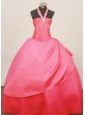 Stylish Halter Coral Red 2013 Little Girl Pageant Dress Floor-Length Taffeta