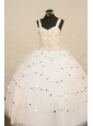 White Stylish Little Girl Pageant Dress Ball Gown With Straps Organza