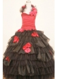 2012 Modest Ruffled Layeres Little Girl Pageant Dresses With Halter Black and Red Hand Made Flowers