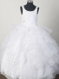 2013 Gorgeous White Little Girl Pageant Dresses  With Beading and Rufled Layers