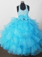 2013 Perfect Aqua Blue Little Girl Pageant Dresses  With Beading Bowknot and Ruffled Layers